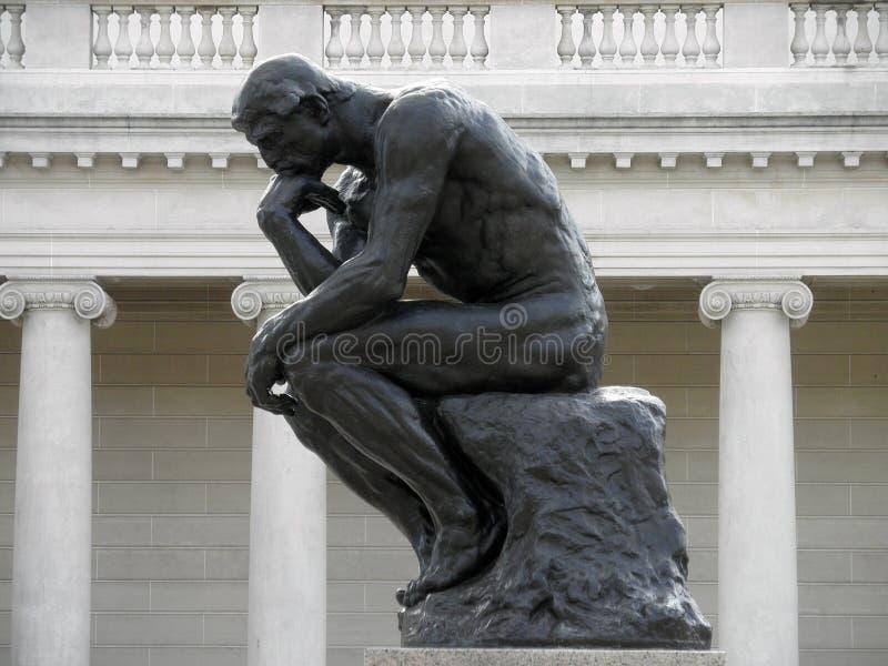Profilo laterale del pensatore da Rodin immagini stock