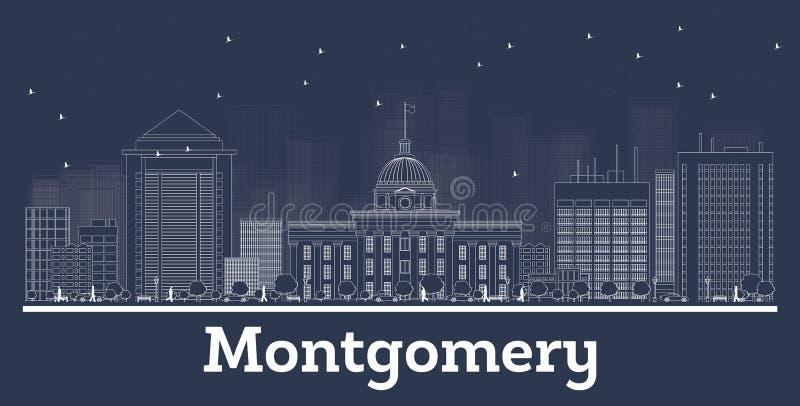 Profilo Montgomery Alabama City Skyline con le costruzioni bianche illustrazione vettoriale