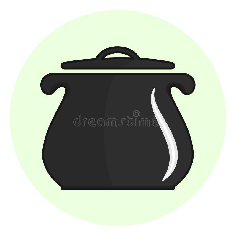 Profilo nero che cucina l'icona del vaso illustrazione di stock