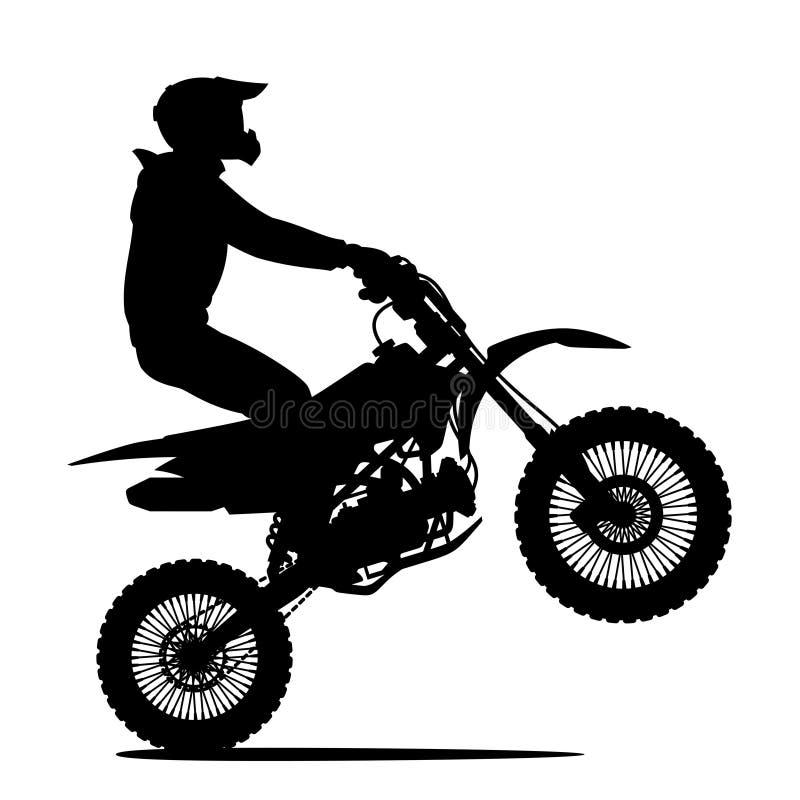 Profilo nero di un uomo su una bici illustrazione di stock