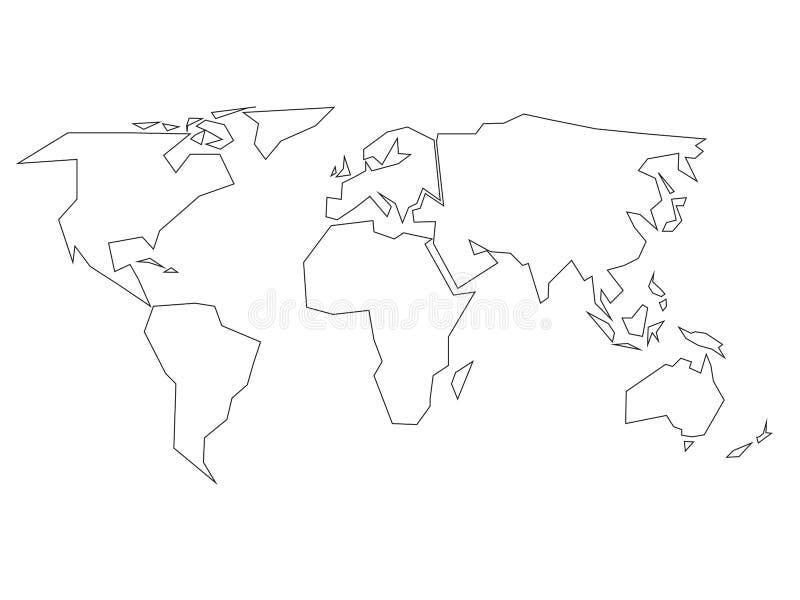 Profilo nero semplificato della mappa di mondo diviso a sei continenti Illustrazione piana semplice di vettore su fondo bianco royalty illustrazione gratis
