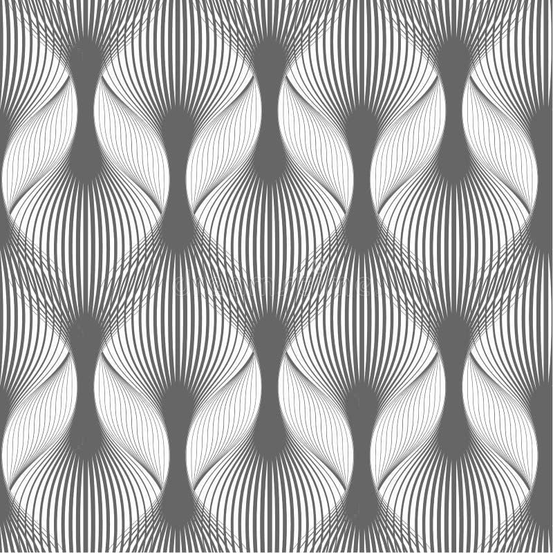 Profilo ondulato astratto Ornamento geometrico elegante con le linee ondose Fondo senza cuciture Ornamento monocromatico royalty illustrazione gratis