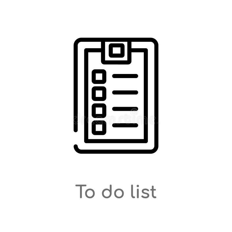 profilo per fare l'icona di vettore della lista linea semplice nera isolata illustrazione dell'elemento dalla palestra e dal conc royalty illustrazione gratis