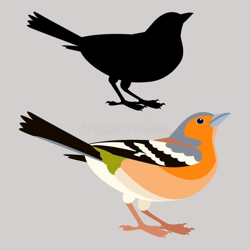 Profilo piano della siluetta del nero di stile dell'illustrazione di vettore dell'uccello del fringillide royalty illustrazione gratis