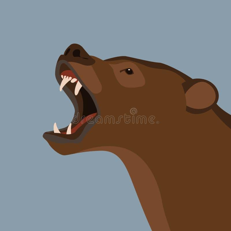 Profilo piano di stile dell'illustrazione capa di vettore dell'orso illustrazione vettoriale