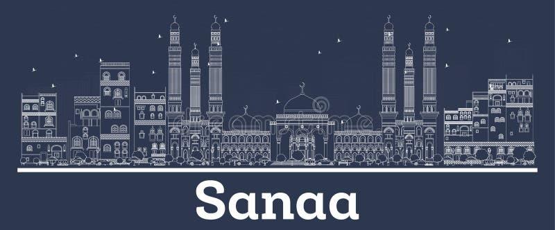 Profilo Sanaa Yemen City Skyline con le costruzioni bianche royalty illustrazione gratis