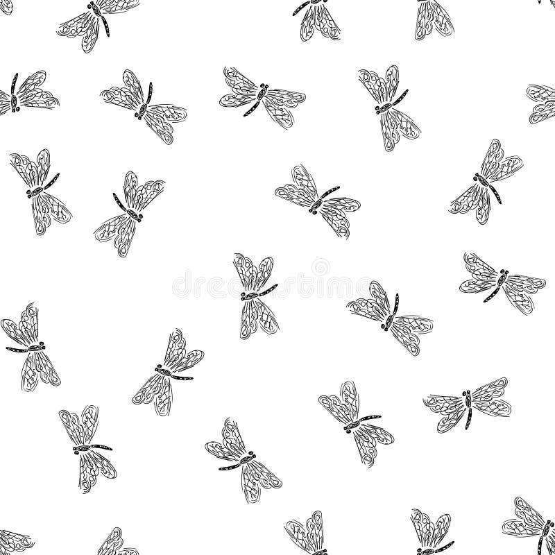 Profilo senza cuciture della mano della libellula Modello con il profilo senza cuciture della mano della libellula isolato su fon royalty illustrazione gratis