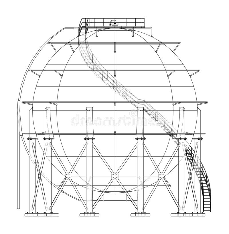 Profilo sferico del carro armato di gas Vettore royalty illustrazione gratis