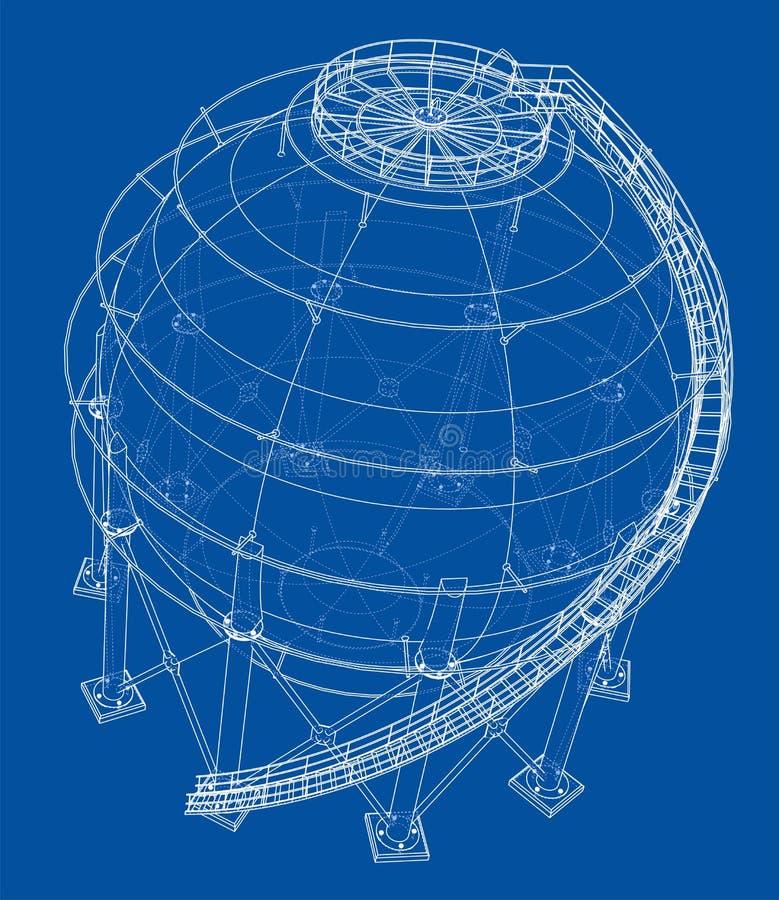 Profilo sferico del carro armato di gas Vettore illustrazione di stock
