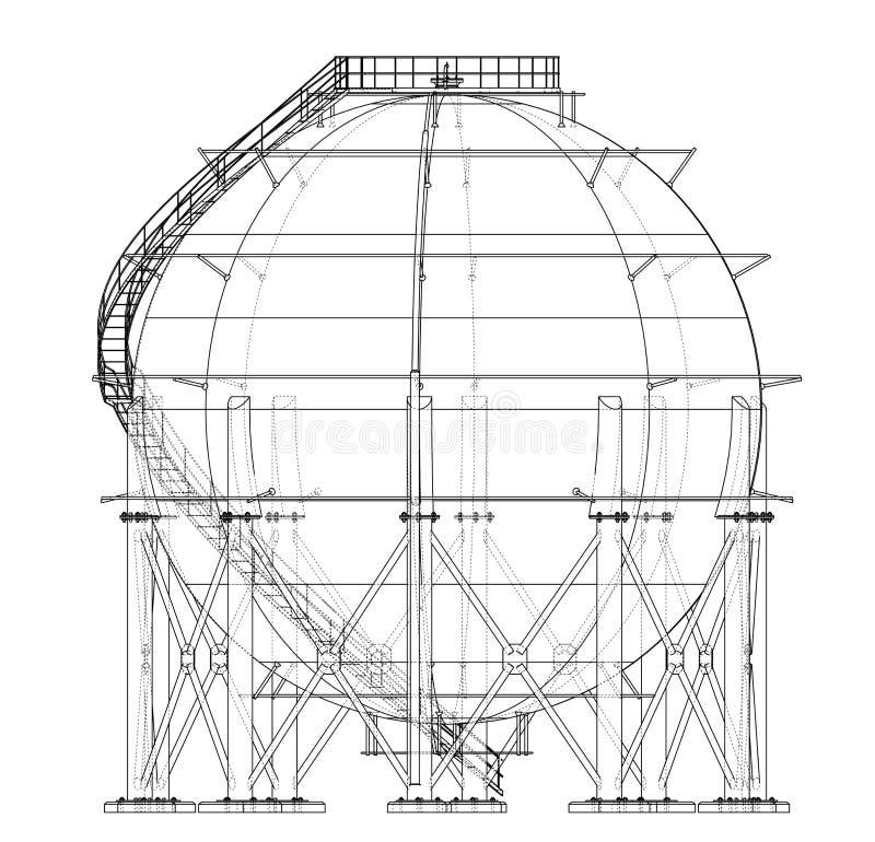 Profilo sferico del carro armato di gas Vettore illustrazione vettoriale