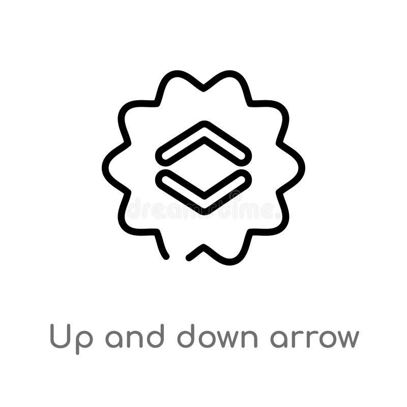 profilo su e giù l'icona di vettore della freccia linea semplice nera isolata illustrazione dell'elemento dal concetto dell'inter illustrazione di stock
