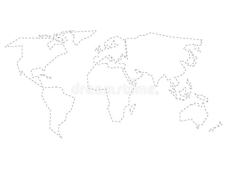 Profilo tratteggiato nero semplificato della mappa di mondo diviso a sei continenti Illustrazione piana semplice di vettore su bi illustrazione vettoriale