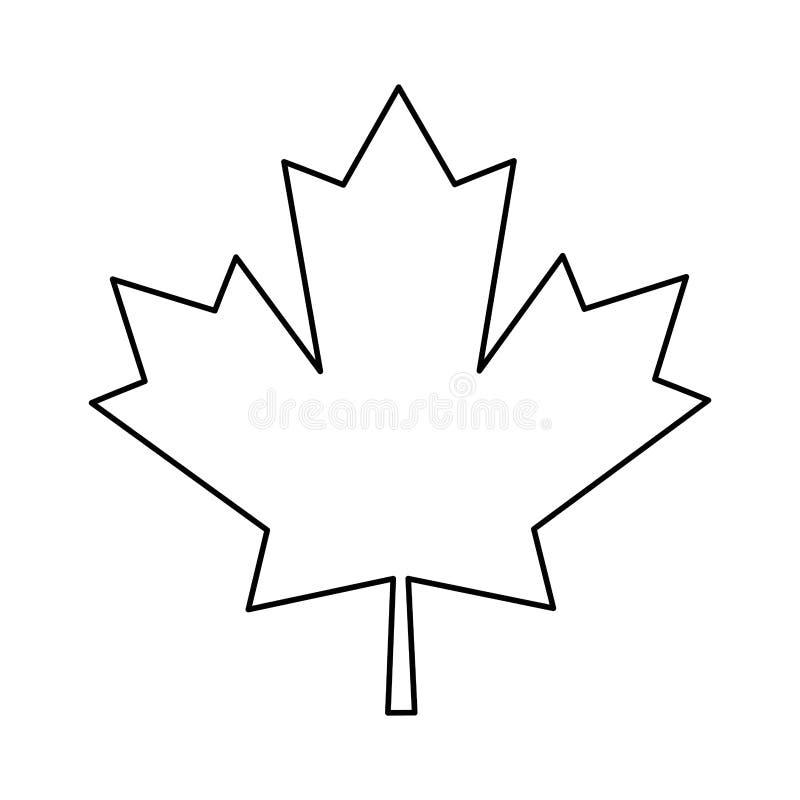 Profilo verde del canadese del segno della foglia di acero illustrazione di stock