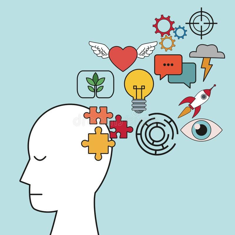 Profilowa ludzkiej głowy łamigłówki ostrości innowacja ilustracja wektor