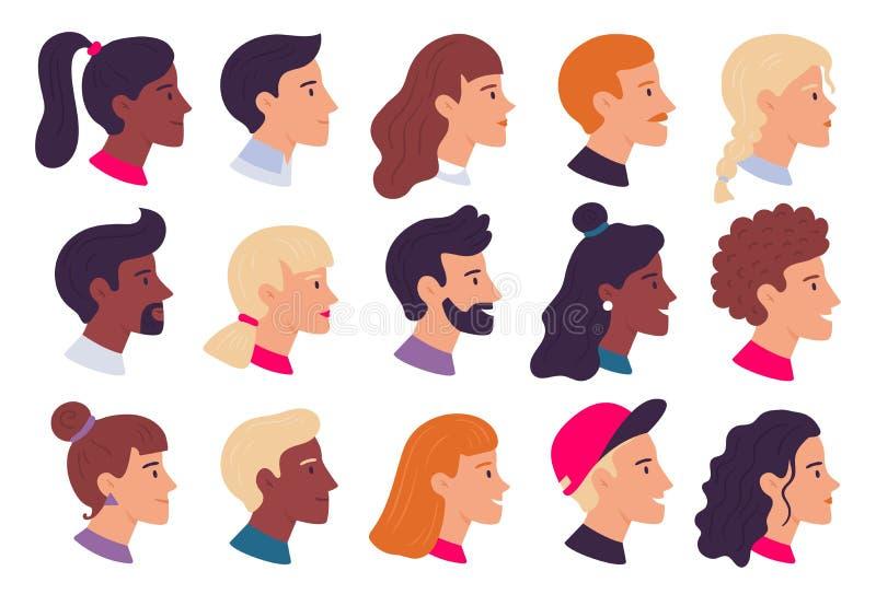 Profilowanie portretów osób Awatary do twarzy samców i samic, zestaw do ilustracji wektora bocznego i płaskiego ilustracja wektor