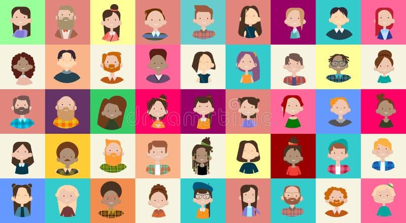 Profilowej ikony Avatar wizerunku grupy Dużego tłumu mieszanki rasy Różnorodnego Etnicznego sztandaru Przypadkowi ludzie ilustracji