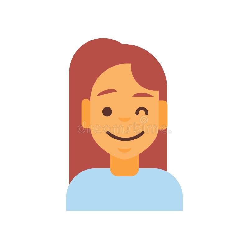 Profilowej ikony emoci Żeński Avatar, kobiety kreskówki portreta twarzy Szczęśliwy Uśmiechnięty Mrugać ilustracja wektor