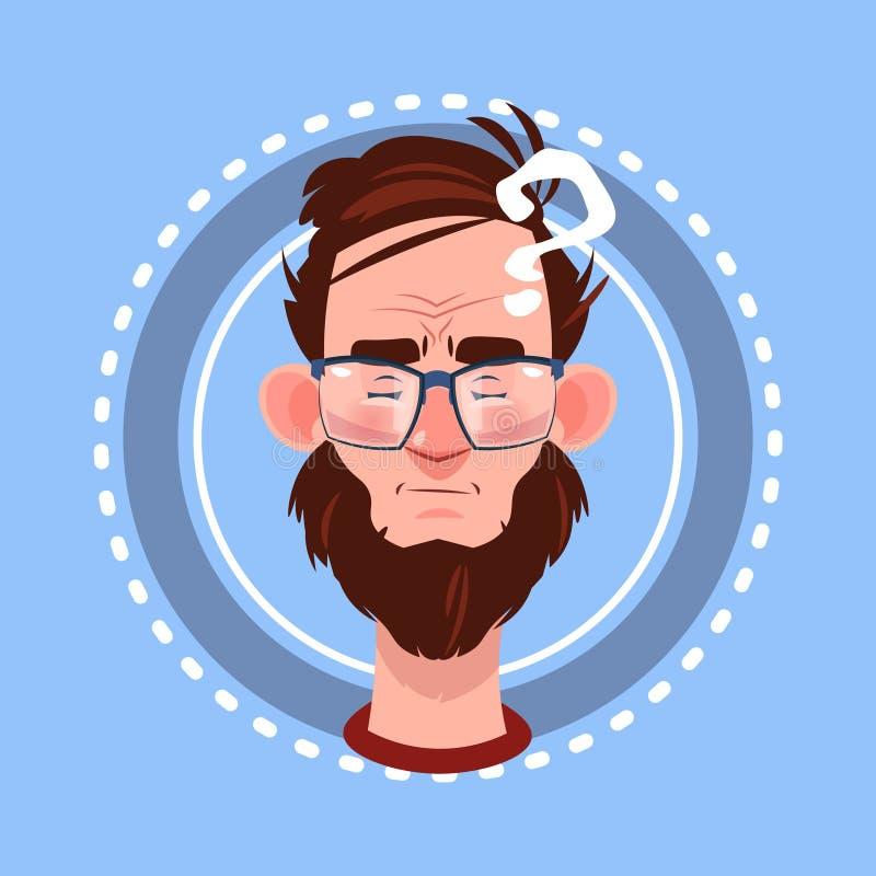 Profilowej ikony emoci Męski Avatar, mężczyzna kreskówki portret Rozpamiętywa twarz ilustracja wektor