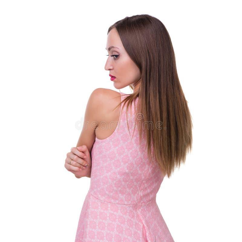 Profilowy boczny portret piękna młoda kobieta zdjęcia royalty free