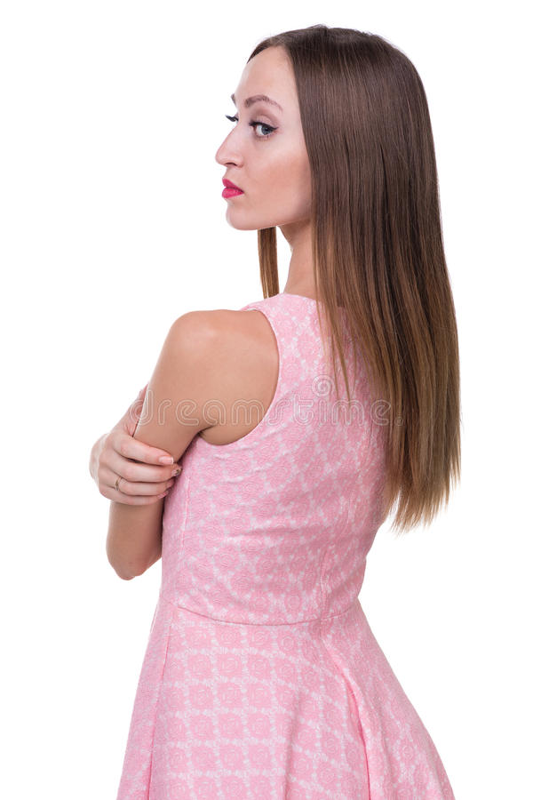 Profilowy boczny portret piękna młoda kobieta zdjęcie stock