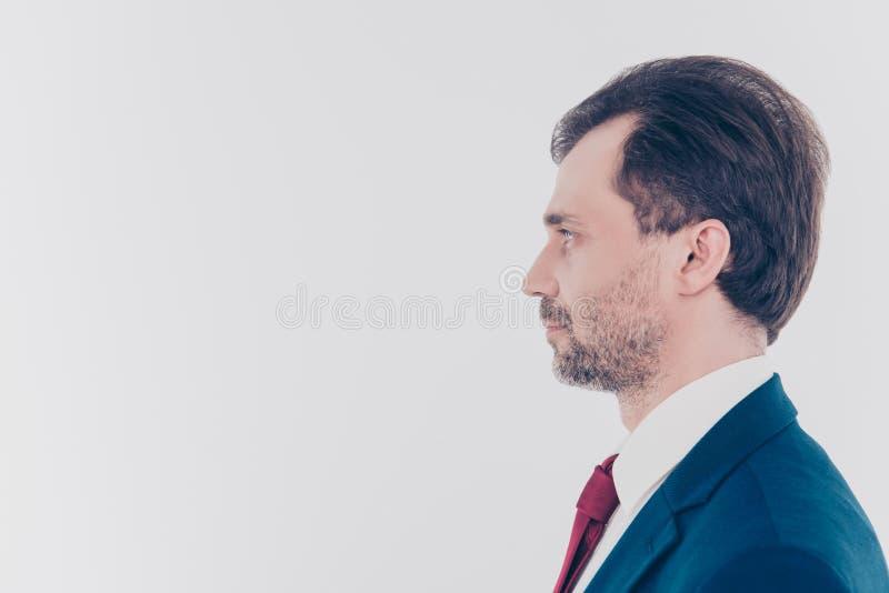Profilowy boczny widok stawiał czoło portret poważny ufny conce zdjęcia stock