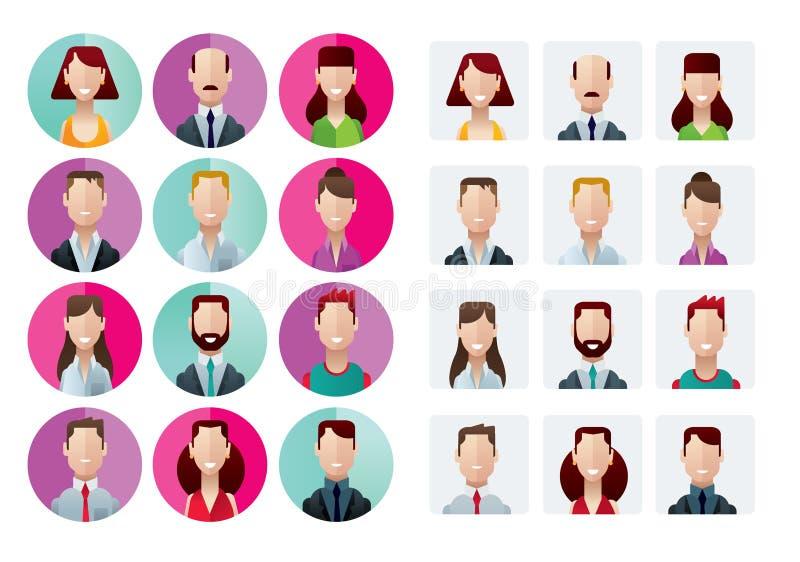 Profilowych ikon biurowi ludzie ilustracja wektor