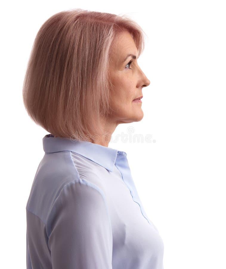 Profilporträt eines Gesichtes der alten Frau lizenzfreie stockbilder