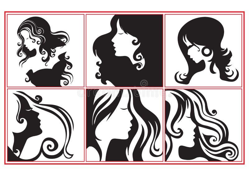 Profils de femmes illustration de vecteur