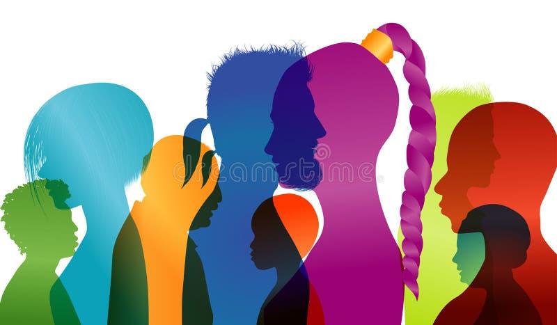 Profils de silhouette des personnes multiraciales Groupe de personnes de différents âges et nationalités Dialogue intercontinenta illustration libre de droits