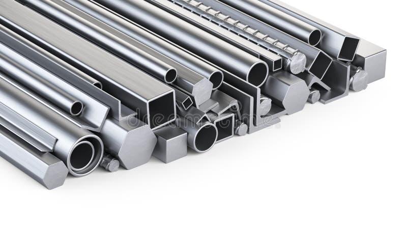 Profils en métal et pile de tuyaux Entrepôt pour la mère de construction illustration de vecteur