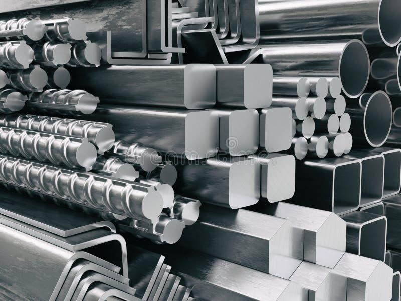 Profils et tubes en métal Différents produits d'acier inoxydable illustration libre de droits