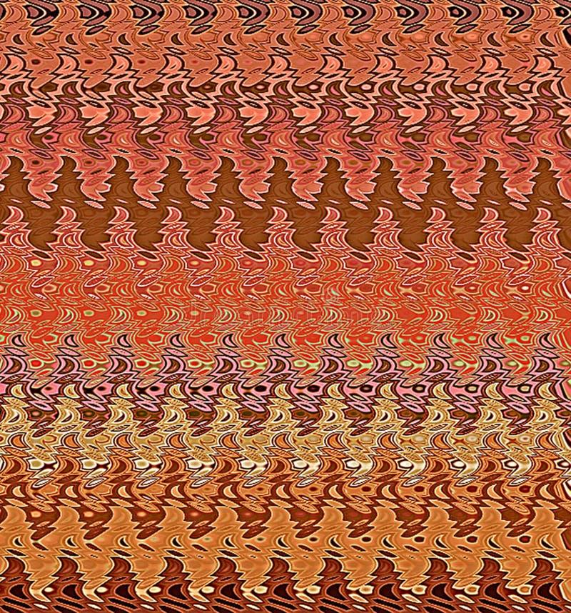 Profils onduleux d'abrégé sur peinture de Digital dans différentes nuances de fond de couleurs de Brown, roses et rouges illustration de vecteur