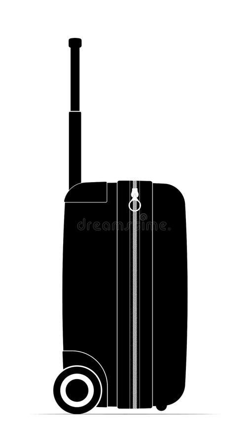 Profilschwarz-Reisekoffer Gießmaschinen und Griff für Bequemlichkeit Reiseflugpreis oder -ferien lizenzfreies stockfoto