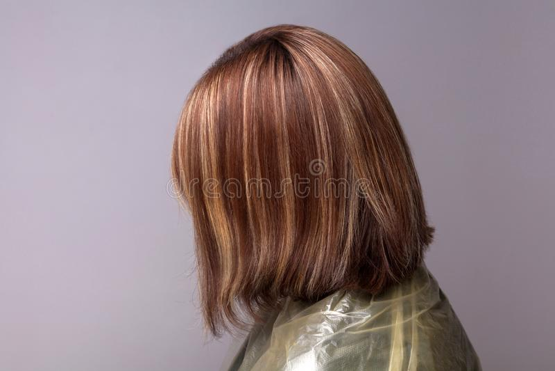 Profilsidosikt av kvinnan med markerade bruna hår arkivfoto