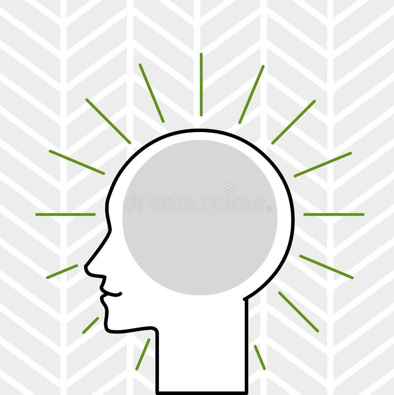 Profilsikt av det mänskliga huvudet som omges av ljusa strålar med tomt utrymme för att bädda in tankar och idéer Översiktskontur royaltyfri illustrationer
