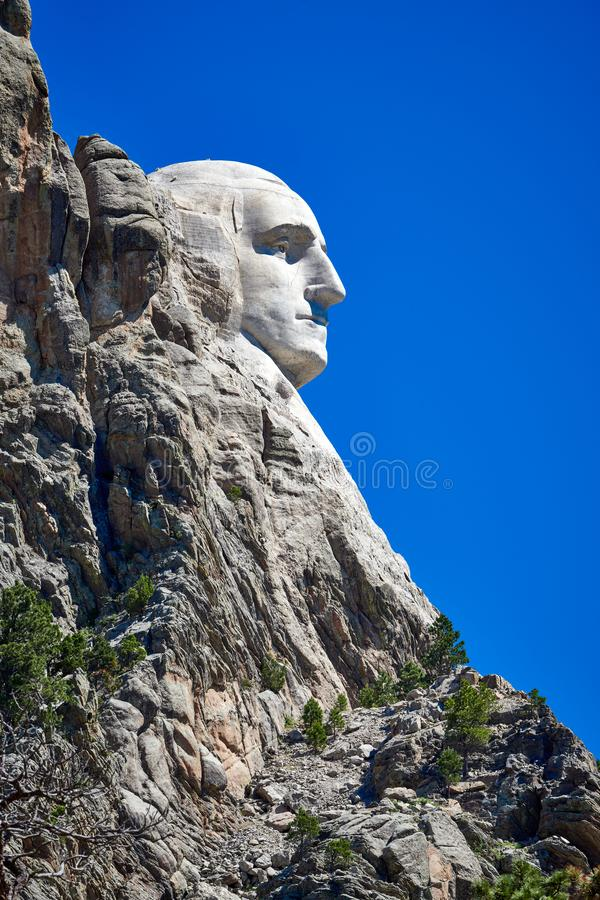 Profilsikt av Washington på Mount Rushmore den nationella monumentet arkivfoton