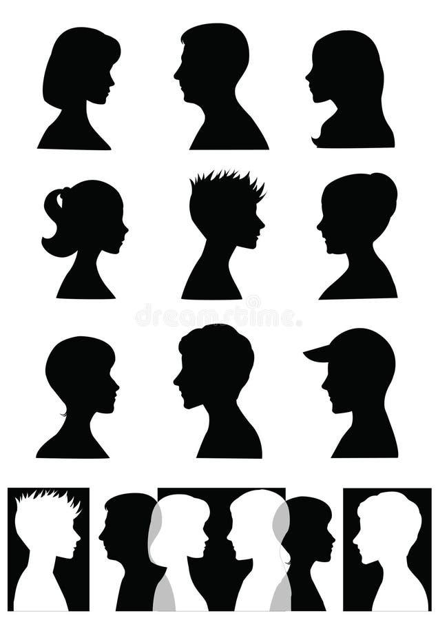 profilsilhouettes royaltyfri illustrationer