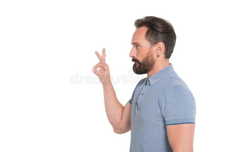 Profilstående av den lugna skäggiga mannen som visar det ok tecknet royaltyfria foton