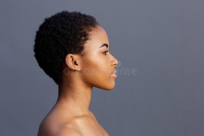 Profilstående av den unga kvinnan för afrikansk amerikan royaltyfri fotografi