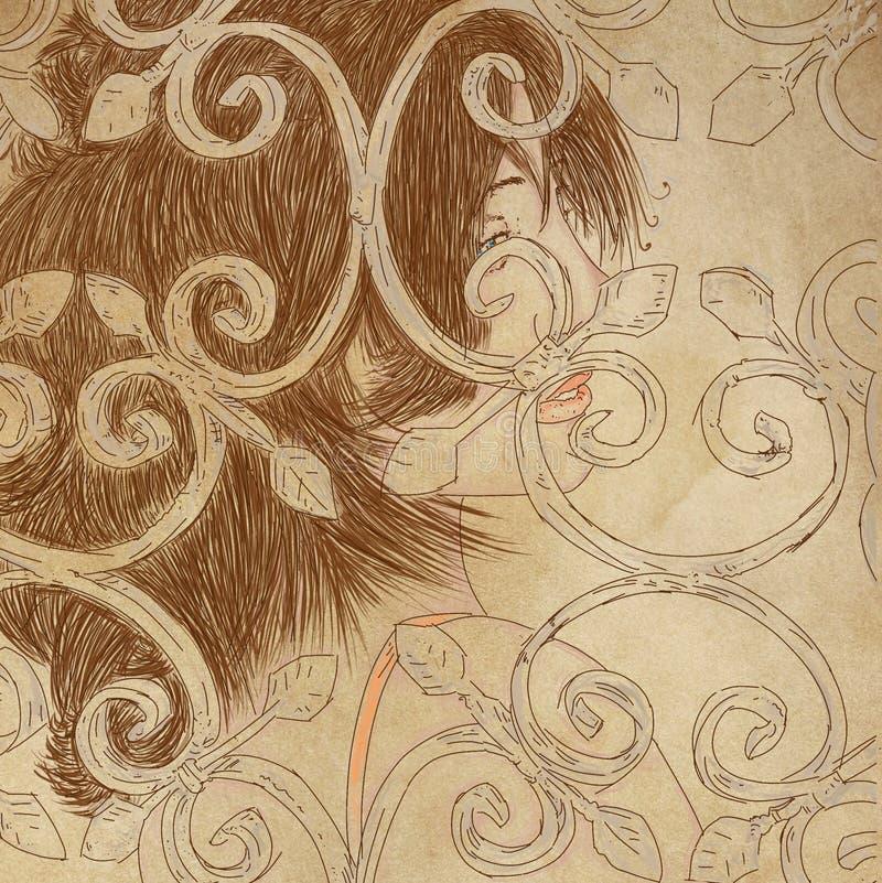 Profiluje murzynki uśmiechy z włosy ciągnącym out Za odwoływającym, ilustracji