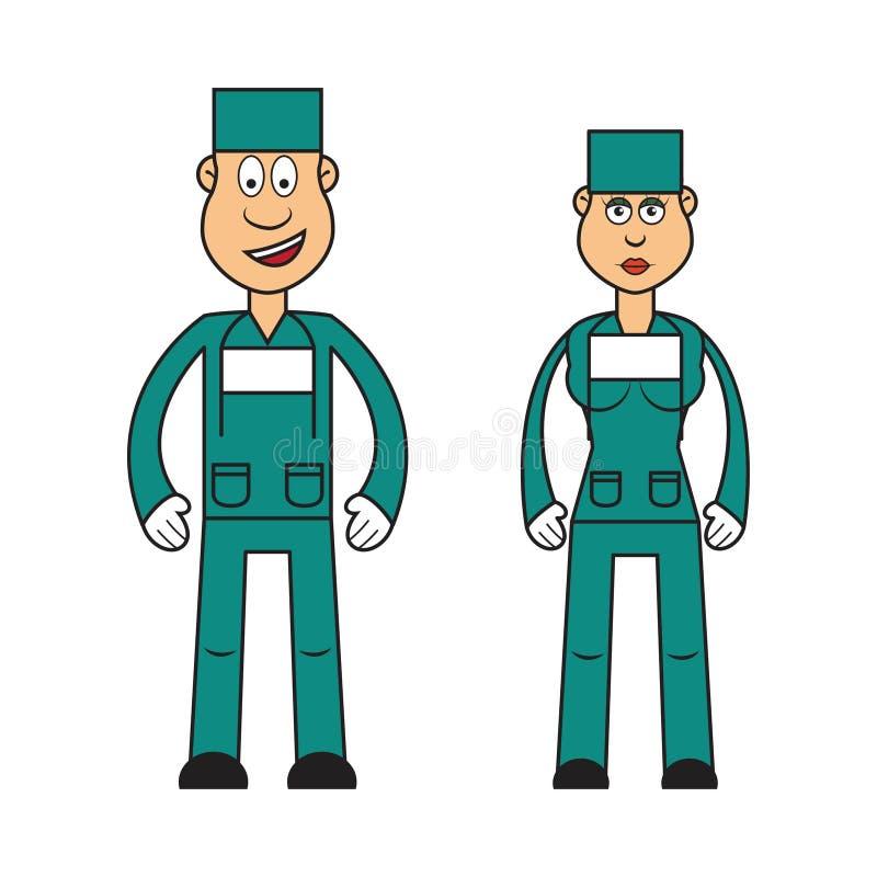 Profissão ajustada: cirurgião fêmea e masculino ilustração royalty free