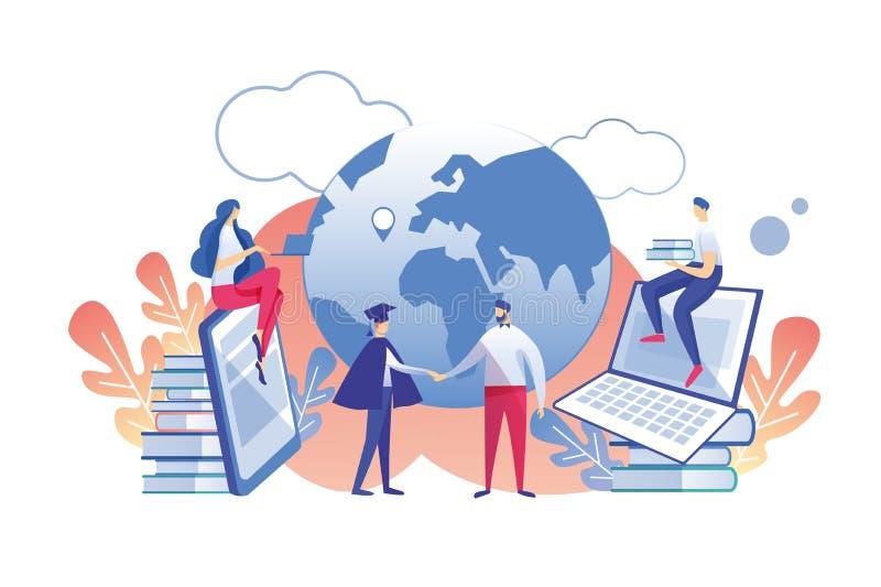 Profissão do ensino à distância com plano do diploma ilustração stock