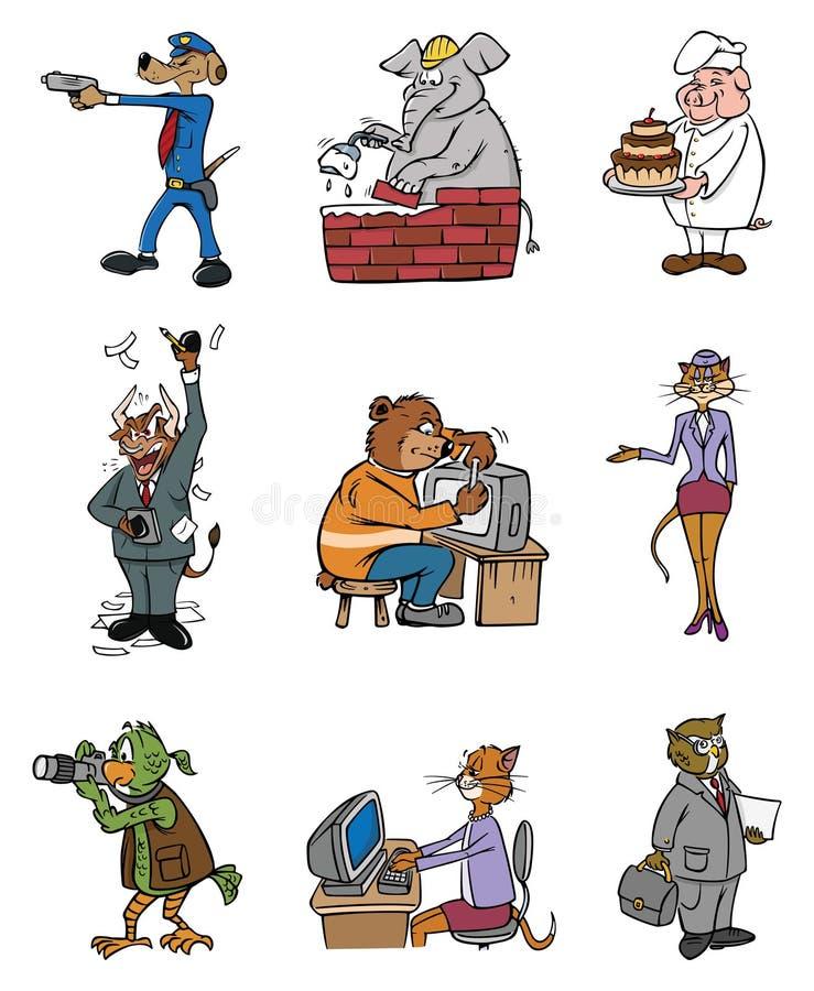 Profissões animais ilustração do vetor