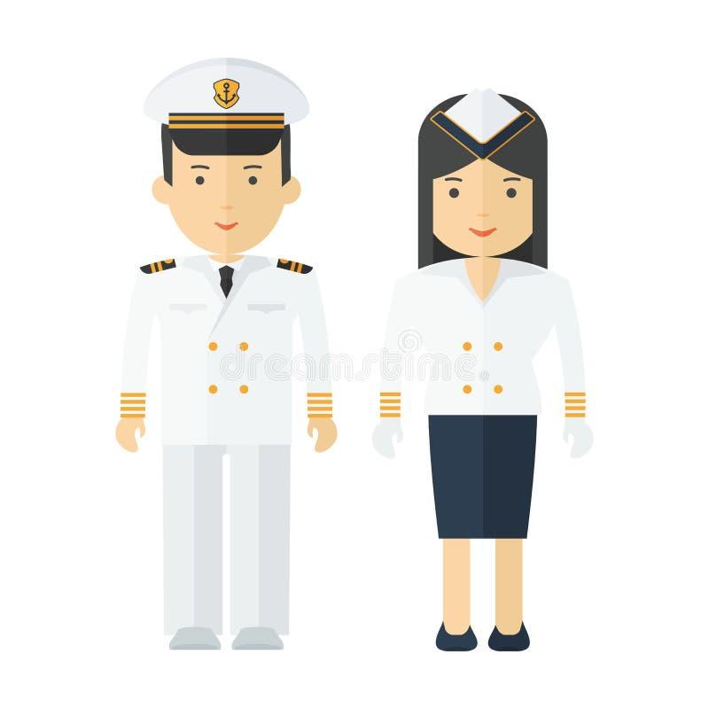 Profissões capitão e comissária de bordo ilustração stock