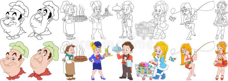 Profissões culinárias dos desenhos animados ajustadas ilustração royalty free