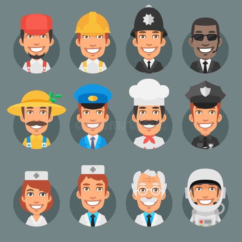 Profissões diferentes dos povos dos caráteres no círculo ilustração stock