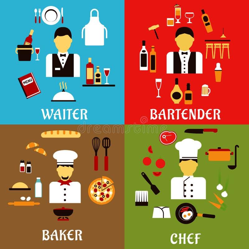 Profissões do cozinheiro chefe, do padeiro, do garçom e do barman ilustração stock