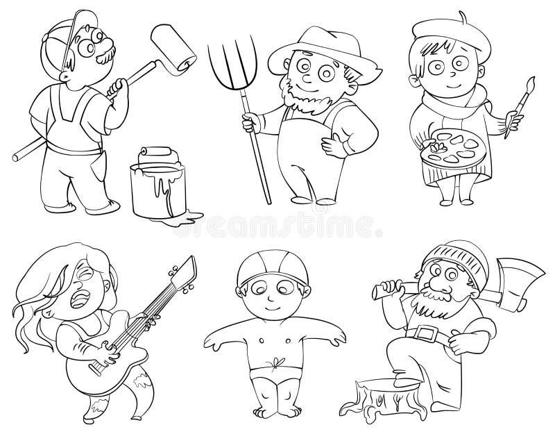 Profissões. Livro para colorir ilustração stock