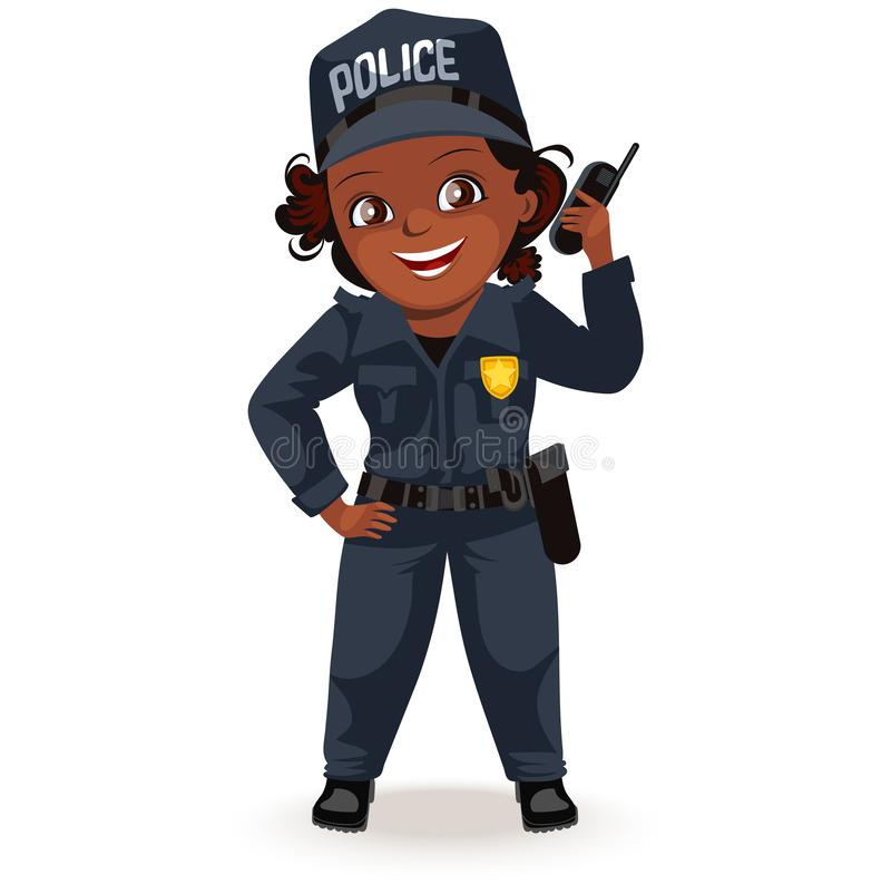 Profissões não fêmeas, uniforme forte do agente da polícia da mulher com grupo de rádio da terra arrendada, menina secutiry da se ilustração royalty free