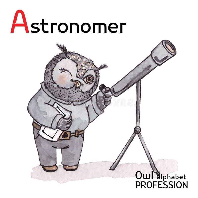 Profissões Owl Letter A do alfabeto - astrônomo ilustração stock